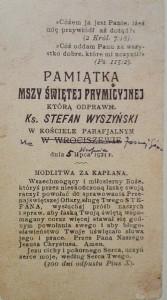 PAMIATKA MSZY SWIETEJ PRYMICYJNEJ KS. STEFAN WYSZYŃSKI WROCISZEW 1924