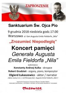 WARSZAWA GOCŁAW PLAKAT 9.12.2018. KONCERT PAMIĘCI GEN. AUGUSTA EMILA FIELDORFA NILA